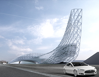 Highway charger station with wind generator-facade