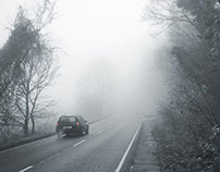 The presence of fog leads to poor driving conditions.