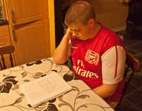 Studying the night before the bigeest exam of his life