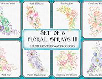 Set of 8 watercolor floral sprays III