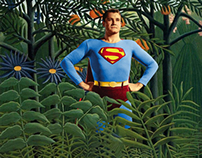 A super man in a Rousseau jungle