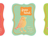 Free Bird Wine Bottle Label Design