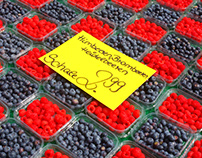 Fresh berries on a market stall