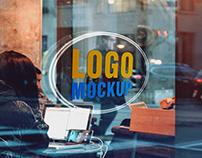 Cafe Glass Wall 3D Logo MockUp