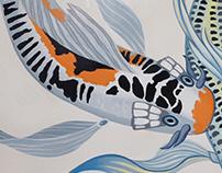 Koi & Lily Bathroom Mural
