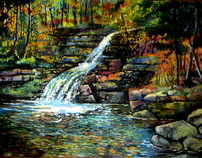landscape paintings waterfalls cascades