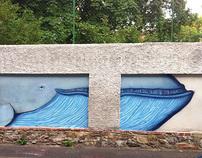 A life-size blue whale w/ Permanent Unit