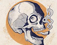 Vintage Smoking Skull