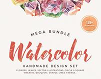 Watercolor handmade design set - MEGA BUNDLE