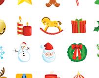 Christmas holiday icons set