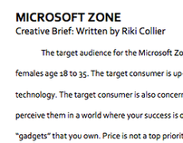 Microsoft Zone Creative Brief