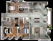 3 1/2 Bedroom 3D Floorplan Architectural 3D Apps