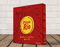 Diseño e Ilustración Caja Pizza Río