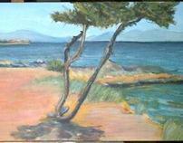 landscape acrylic on linen canvas 130 x 45