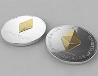 3D Ethereum ETH Crypto Coin model