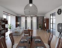 Interior Design : Dark Wood. Living room and kitchen.