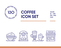 Coffee House Line Icon Set