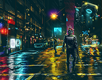 A night in the city (Cyberpunk illustrations)