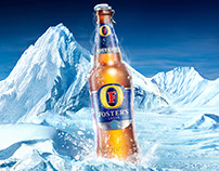 Fosters Refreshingly Cold Beer