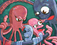 A Happy Octopus Family