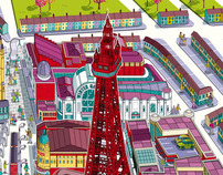 Blackpool Resort Map Illustration for Visit Blackpool