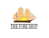 The fire ship custom logo and illustration