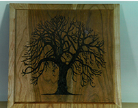 Pyrography: Wood-burned Trees on American Cherry Panels