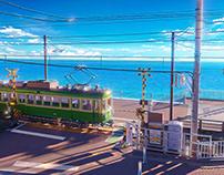 江ノ電と鎌倉高校前踏切