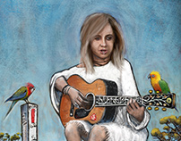 Kasey Chambers - Rhythms Magazine illustration.
