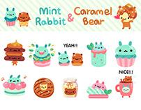 Mint Rabbit & Caramel Bear sticker pack