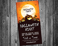 Free Halloween Party Invitation Card PSD