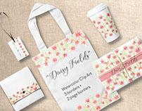 Set of dainty pink daisy borders