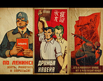 Comic Book Heroes In Soviet Style