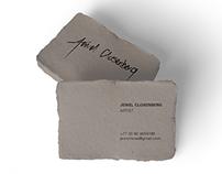 letterpress business card design, signature for artist