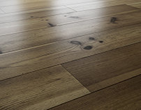 Pine Wood Flooring detail - 3D Rendering