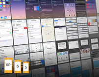 iOS 9 Complete UI free PSDs for iPhone 5, 6 and 6 Plus
