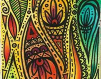 Watercolour paisley drawing