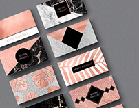 Rose Gold Marble Foil Glitter Business Card Templates
