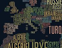 Carte du monde typographique