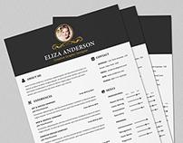 Elegant Resume/CV Set with PSD & MS Word File