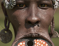 Portrait of Mursi tribal woman with large lip plate