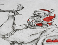 Christmas Card (Intaglio & Watercolors)