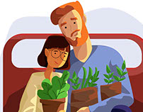Honey couple with pot of flowers in train