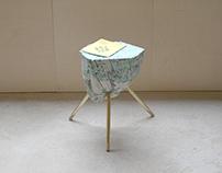 concrete brass table