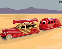 Vintage Teardrop Travel trailer Series by David Cran