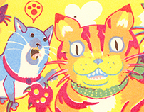 Cats and Dogs (accordion zine)