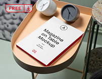 Free Magazine on Table PSD Mockup