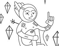 Space Traveler- Line Illustration