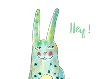Stickers. Crazy bunny.