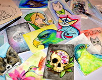 Custom Holiday Watercolor Cards 2016